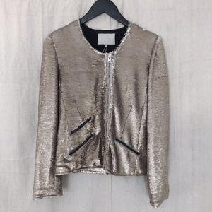IRO Gold/Silver Yulli Sequin + Leather Moto Jacket